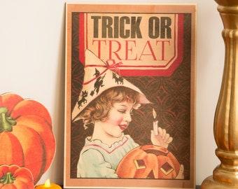 Halloween Print wooden Decoration Pumpkin Trick or Treat wooden ornament, fall decor, halloween decor laser cut