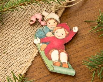 Vintage Christmas Decoration Bauble, retro Wooden Laser cut, printed Christmas decoration victorian vintage Christmas illustration
