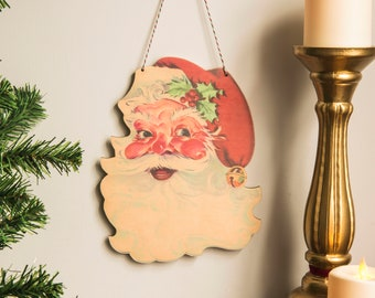 Retro Christmas Decoration santa head wall hanging kitsch festive decor wooden laser cut