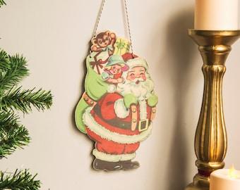 Retro Christmas Decoration santa wall hanging kitsch festive decor wooden laser cut