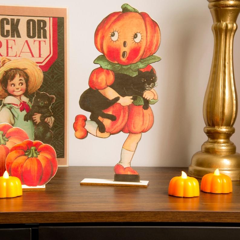 Halloween Decoration Pumpkin  wooden ornament fall decor image 1