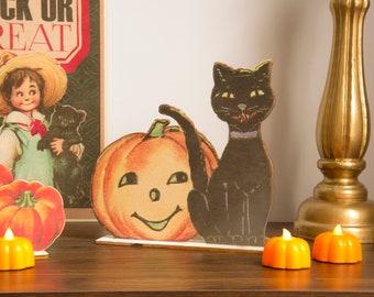 Halloween Decoration Pumpkin and cat  wooden ornament, fall decor, halloween decor laser cut