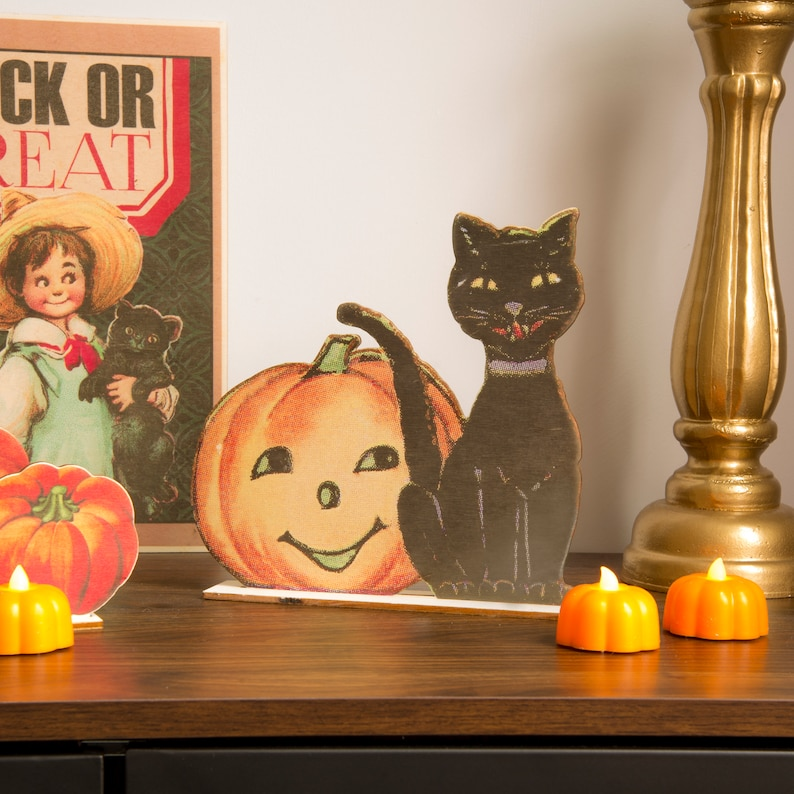 Halloween Decoration Pumpkin and cat  wooden ornament fall image 1