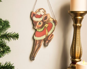 Retro Christmas Decoration deer wall hanging kitsch festive decor wooden laser cut