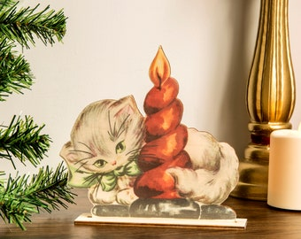 Retro Christmas Decoration cat wooden ornament, holiday decor, christmas decor laser cut