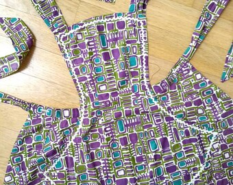 Vintage Patterned Apron with Ric Rac | Mod Purple Blue and Green | One Size