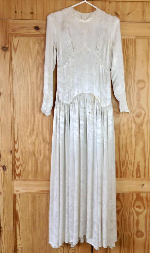 1930 Ivory Jacquard Satin Damask Wedding Dress/Gow