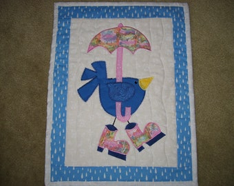 Vintage Baby Girl Bluebird with Parasol Quilting Fabric Block 5x7