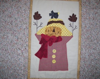 Scarecrow quilt-fall decoration quilt-wall decoration for fall-crow quilt-machine quilted and appliqued