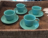 Fiesta ware tea cups saucers set of four Homer Laughlin china Co.