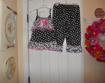 Girls cutest adorable pajamas in polka dot, black and white
