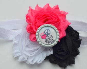 Volleyball Headband, Team Colors, Volleyball Baby Infant, Sports Headband, Pink, Headband for Newborn, Baby, Toddler, Kids, Teens, Adults