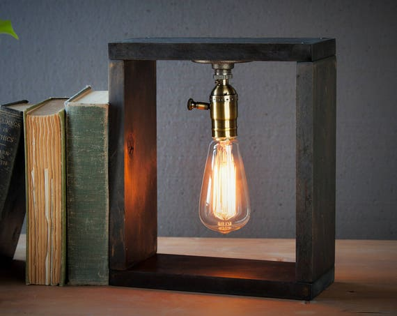 Industrial Lighting - Weathered Box Steampunk Lamp - Table Lamp - Edison Light - Vintage Light - Pipe Lamp - Bedside Lamp - Rustic Lighting