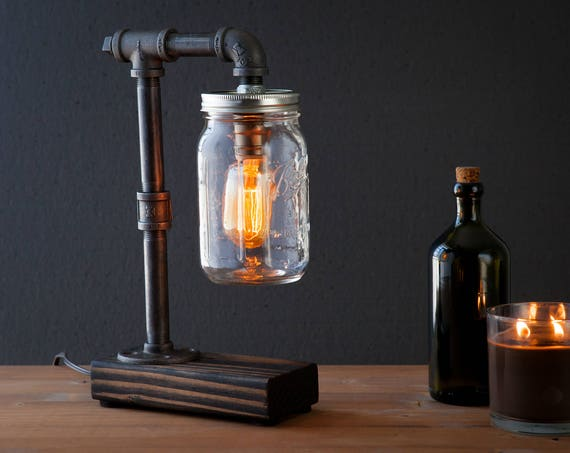 Mason Jar lamp/Industrial lamp/Rustic decor/Table lamp/Radio Cooper lamp light/housewarming gift/gift for men/bedside lamp/desk accessories