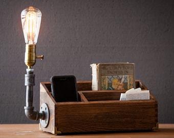 Rustic Desk Organizer lamp/Docking station/Rustic home decor/Steampunk Lamp/Table Lamp/Edison Light /Vintage Light /Pipe Lamp /Bedside Lamp