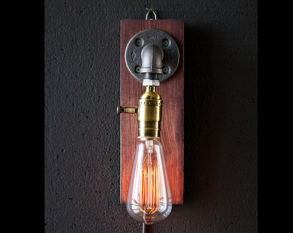 Plug in Sconce-Tablelamp-Wall sconce-Steampunk lamp-Rustic home decor-Gift for men-Farmhouse decor-Home decor-Desk accessories-Bedside lamp