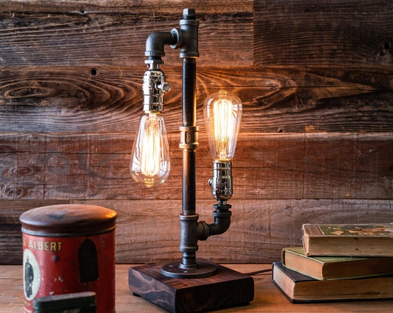 Table lamp-Desk lamp-Edison lamp-Steampunk lamp-Industrial lighting-pipe lamp