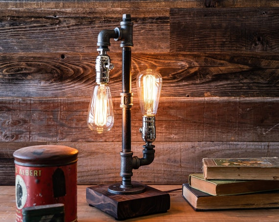 lamp-Desk lamp-Edison Steampunk lamp-Rustic home decor-Gift for men-Farmhouse decor-Home decor-Desk accessories-Industrial lighting