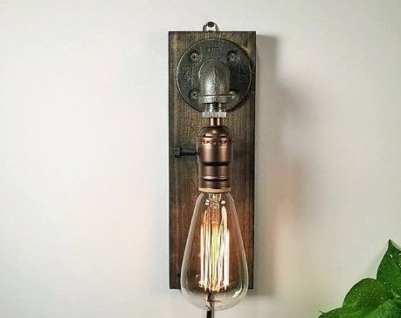 Plug in Sconce-Table lamp-Wall sconce-Steampunk lamp-Rustic home decor-Gift for men-Farmhouse decor-Home decor-Desk accessories-Bedside lamp