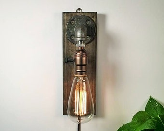 Rustic home decor-Plug in Wall Sconce Lamp-Sconce lamp-Industrial Lighting-Steampunk lamp-Housewarming Gift for men-Farmhouse Decor