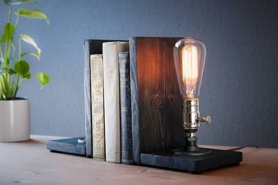 Bookend lamp/Rustic decor/Industrial lamp/Steampunk light/Unique lamp/Housewarming/Gift for Men & Book lover/Bedside lamp/Desk accessories