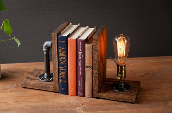 Desk Organizer Bookend lamp/Rustic decor/Industrial lamp/Steampunk light/Housewarming/Gift for Men Book lover/Bedside lamp/Desk accessories