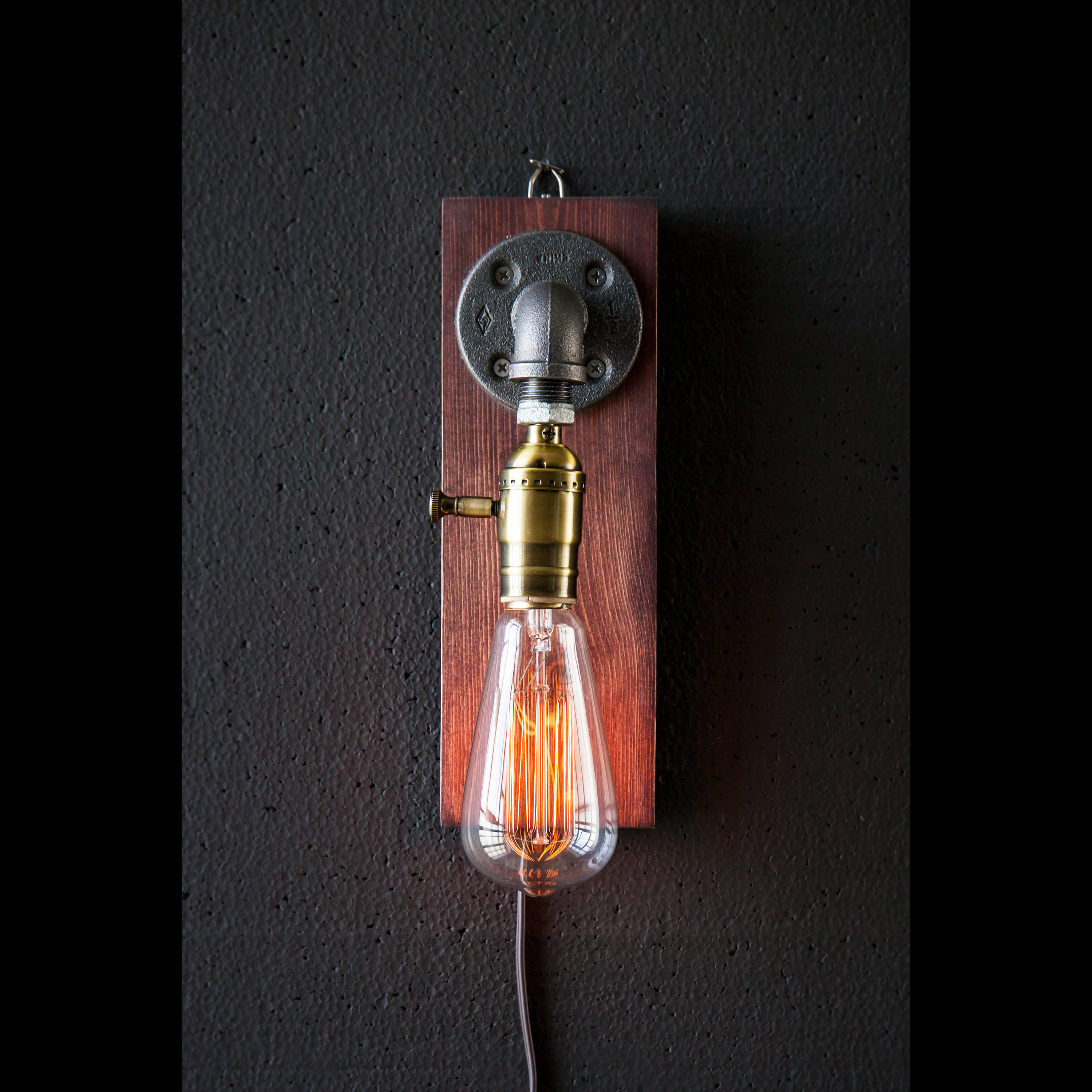 Industrial Lighting Lighting Rustic Light Steampunk: Plug In Wall Sconce Lamp-Rustic Home Decor-Sconce Lamp