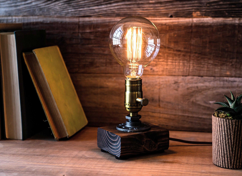 Table Lamp Desk Lamp Edison Steampunk Lamp Rustic Home Decor Gift For Men Farmhouse Decor Home Decor Desk Accessories Industrial Lighting