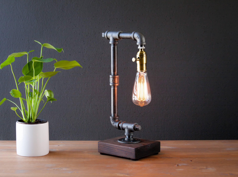 Edison lamp/Rustic decor/Unique Table lamp/Industrial   Etsy