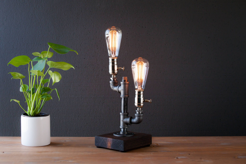 steampunk lighting. Edison Lamp/Rustic Decor/Unique Table Lamp/Industrial Lighting/Steampunk  Light/housewarming/gift For Men/bedside Pipe Lamp/desk Accessories Steampunk Lighting