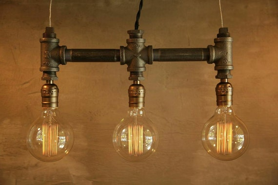 Industrial pendant lamp, Edison ceiling lamp, Steampunk lamp, Farmhouse lamp, Rustic home decor, unique lighting, pipe lamp chandelier