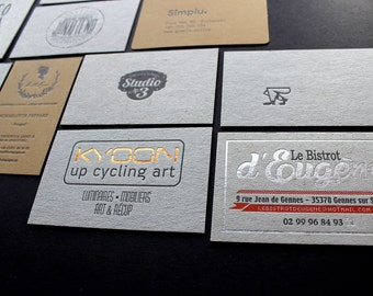 Business cards recycled paper etsy 200pcs hot foil or letterpress business cards recycled paper reheart Gallery