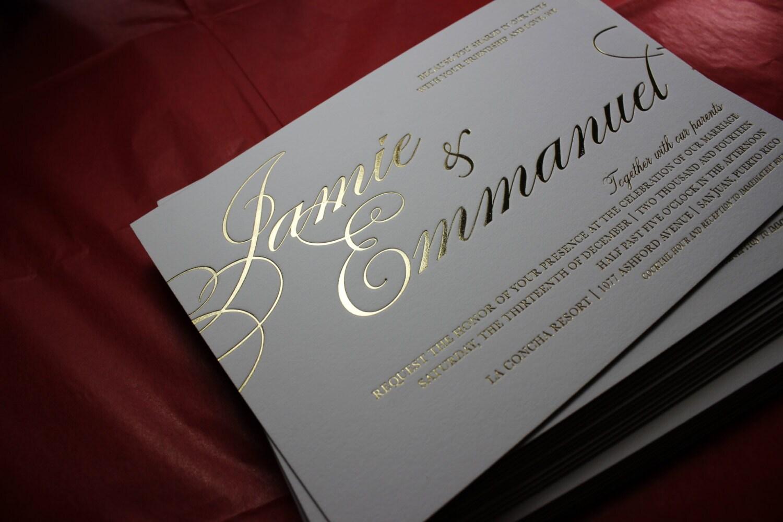 Custom Wedding Invitations Gold Hot Foil Printing Edge Etsy