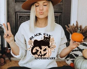 Black Cat Apothecary Crewneck Sweatshirt - Halloween - Fall Sweatshirt - Black Cat - Boho Fall Shirt - Cute Fall Shirt - Spooky Season