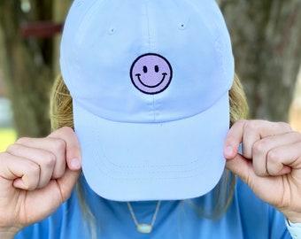 Smiley Face Hat - Embroidered Hat - Summer Hat - Trendy Hat - Motivational Hat - Positivity Hat - Preppy Hat - Lots of Colors!