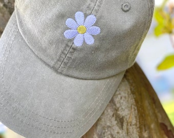 Daisy Hat - Floral Embroidered Hat - Trendy Hat - Boho - Ladies Embroidered Hat - Gifts Under 25