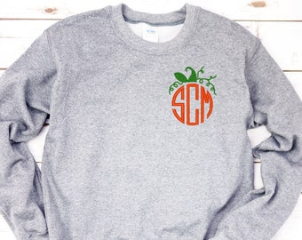FLASH SALE Pumpkin Pullover Adult Pumpkin Monogram Sweatshirt