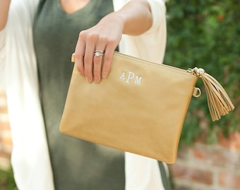 Monogram Leather Purse, Gold Crossbody, Monogrammed Tassel Crossbody, Monogrammed Gift, Vegan Leather Tassel Clutch, Embroidered Gift