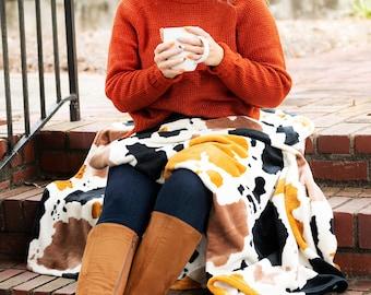Monogrammed Plush Blanket - Fleece Cow Print Blanket - Embroidered Plush Blanket - Cow Print Blanket - Christmas Gift - Personalized Blanket