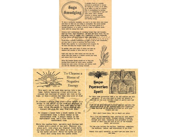 Smudge, Cleanse, and Protect your Home, 3 Book of Shadows Pages, Wicca,  Witchcraft, BOS Pages, Real Spell Book Pages