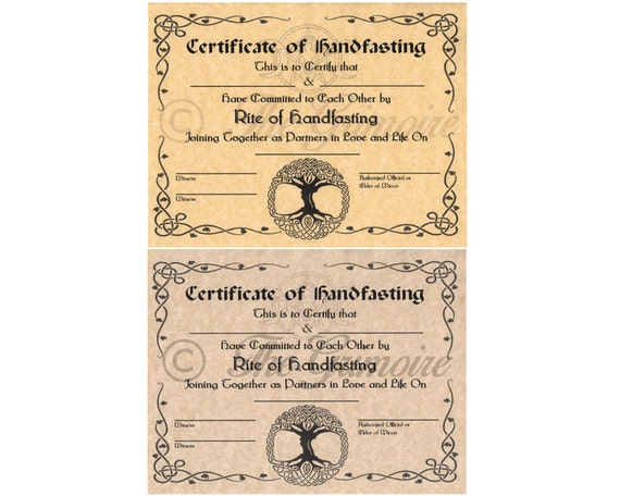 Handfasting Certificate Hand Fasting Certificate Engagement Pagan Promising Wicca Wiccan Witchcraft Book Of Shadows Page
