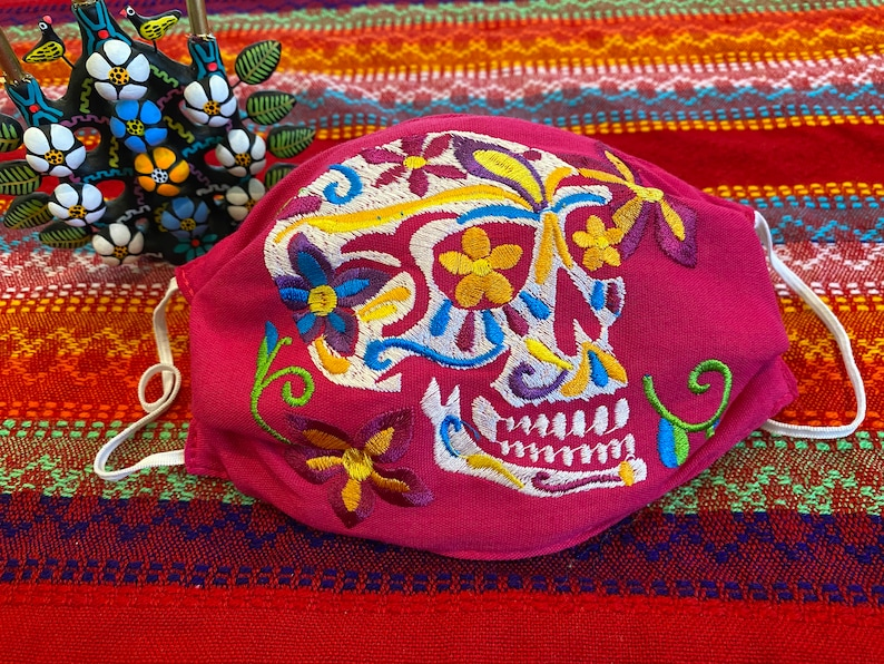 Day of the dead sugar skull calavera Embroidered face mask Sugar skull- pink