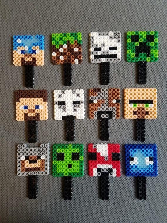 Minecraft Cupcake Topper Perler Beads
