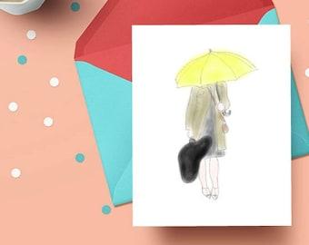PRINTABLE greeting card, digital instant download, himym, mother, ted, watercolor art print, decor, yellow umbrella, legendary, rain, train