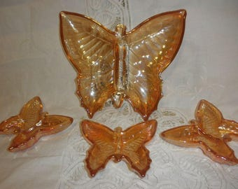 Butterfly Carnival Glass Trinkets with Three Small Butterflies