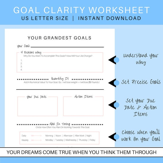 Goal Setting Worksheet | Goal Clarity Guide | Goal Outline | Goal Planning  Worksheet | Life Goals Planner | New Year Resolution Planner