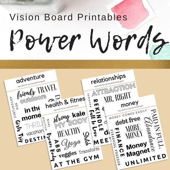 Printables Digital Words Cards 2020 Vision Powerful Words Vision Board Family Words DIY Motivational Board Scrapbook Words