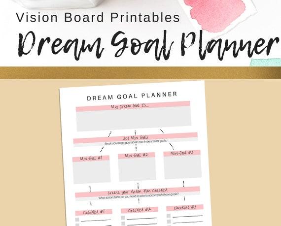 Dream Goal Planner Printable Goal Setting Printable Pdf Goals Worksheet Action Plan Worksheet Goals Printable Dream Goal
