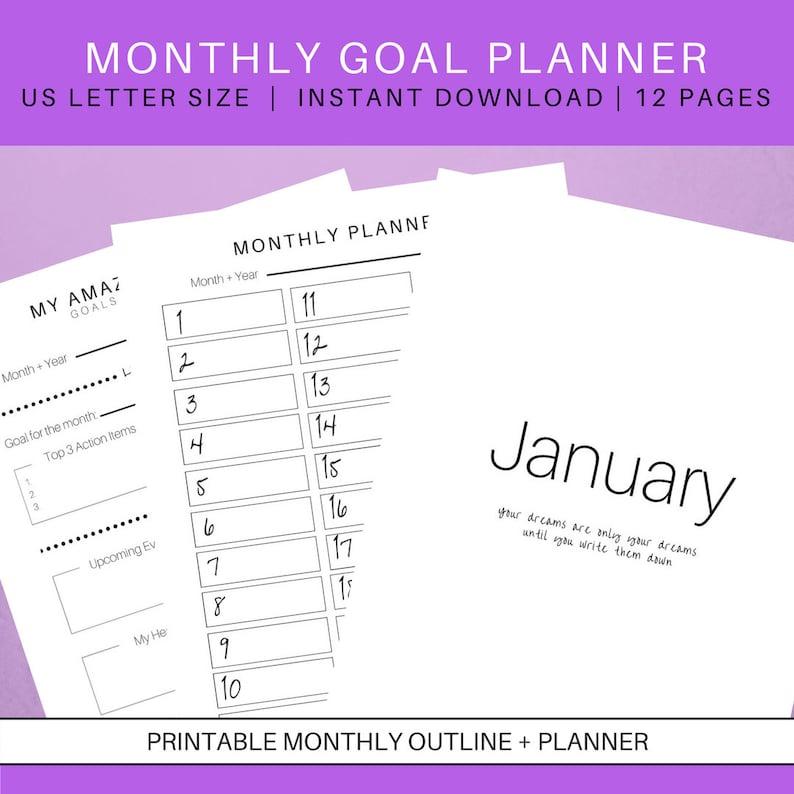 Monthly Printable Goals Planner | Goal Planning Printables | Month Planner  | Productivity Planner | 2018 Goals Planner