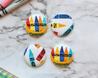 Crayon Fabric Covered Button Magnet Set